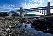 Britannia Bridge and Rock Pools, Menai Strait, Anglesey, North West Wales