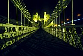 Conwy Castle and Telfords Suspension Bridge at Night, Conwy, North West Wales.