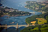 Aerial, Bridges over Menai Strait, Anglesey, North West Wales