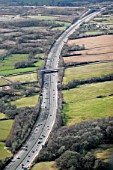 Aerial M4 Motorway near Bridgend, South Wales.