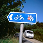 2B cycle path sign near Tregaron, Ceredigion, Wales, UK.