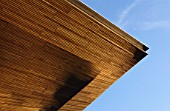 Timber Clad Roof Detail, New National Assembly for Wales Building under Construction, Cardiff Bay, South Wales
