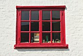 Red painted window frame