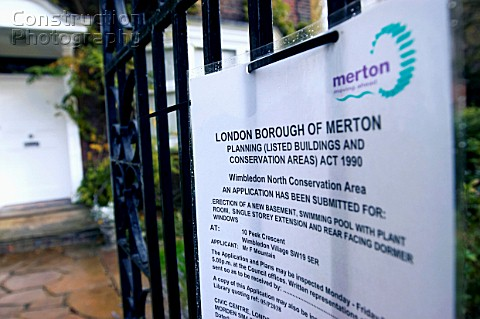 Public notice referring to planning permission on a domestic property Borough of Merton London