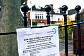 Public notice referring to planning permission on a domestic property, Borough of Merton, London