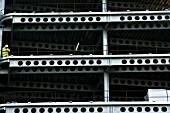 Steel modular structure during the erection of an office building in London, England