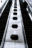 Escalator, underground, London, UK