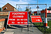 Footpath closed to pedestrian access. England, UK.