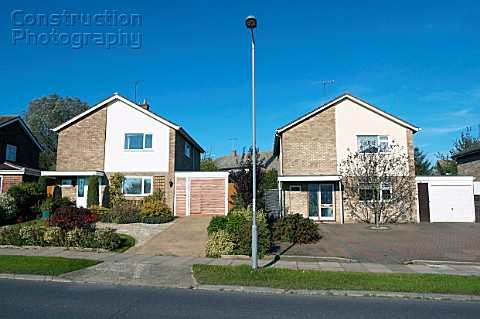 Affordable housing identical houses England UK