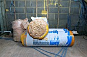 Fiberglass rolls used for house insulation.