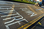Road marking on coloured asphalt, United Kingdom