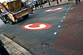 Congestion charge area sign on a road, central London, UK.