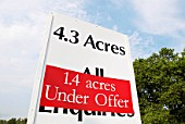 Acres for sale sign, UK