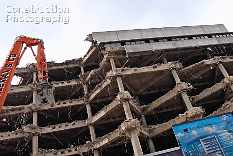 Demolition of building for new hotel Waterloo London UK