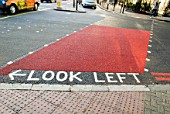 Look Left road sign, UK