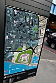 Tourist display map in City of London, England, UK