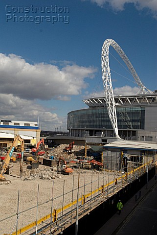 Construction site at Wembley Stadium Wembley London UK The Wembley Stadium arch is the main focus of