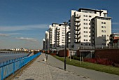 Modern riverside development at Royal Arsenal, South East London, United Kingdom
