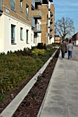 Landscaping surrounding a modern development at Royal Arsenal, South East London, United Kingdom