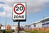 Speed limit zone sign, Norwich, United Kingdom