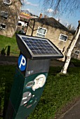 Solar powered parking ticket machine