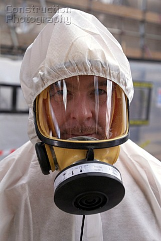Asbestos Removal Man in full protective clothing United Kingdom