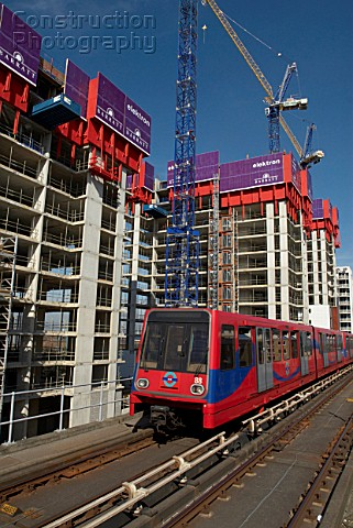 Docklands housing construction and DLR East London UK