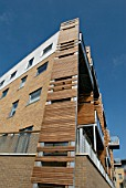 Wooden cladding on modern apartments in Cambridge, UK
