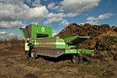 Composting plant at site for recycling food and garden waste, Suffolk, UK