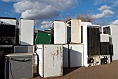 Unwanted fridges and freezers, Peterborough recycling centre, Cambridgeshire, UK