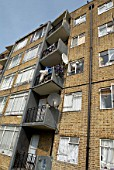 Council estate housing in Clapham, Southwest London, United Kingdom