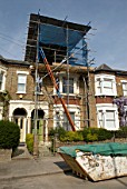 Scaffolding for loft conversion, Clapham, Southwest London, United Kingdom