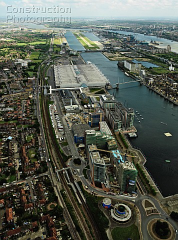 Aerial view of the ExCel Exhibition Centre Royal Victoria Dock Royal Albert Dock and City Airport ne
