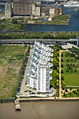 Aerial view of Barrier Point, a landmark prestige housing development by Barratt, an 18-storey tower which has won 10 national awards. London Docklands, Thames Gateway, UK.
