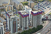 Aerial view of Electron, a residential property development by Barratt, London Docklands, Thames Gateway, UK.
