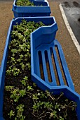 Recycled plastic bench and planter