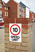 Speed limit on a modern housing development, Ipswich, UK