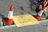 Temporary platform for easier pedestrian access around roadworks, UK