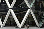 Entrance way into the Swiss Re building, The Gherkin, City of London, United Kingdom. Designed by Norman Foster and Partners. Winner of the Stirling Prize 2004.