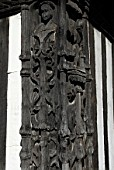 Wood carving on an medieval building, Ipswich, United Kingdom