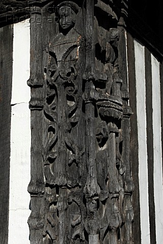 Wood carving on an medieval building Ipswich United Kingdom