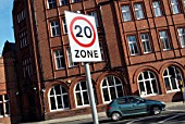 Inner city 20mph speed limit sign, Norwich, UK