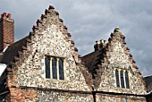 Brick and stone gables on a medieval house, Norwich, UK