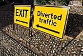 Diversion and Exit signs