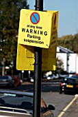 Temporary parking suspension sign, London, UK