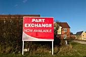 Home builders sign advertising part exchange