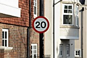 20mph speed limit sign, Ingress Park, Kent, UK