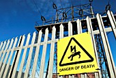 Warning sign at an electric substation, UK