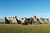 The distinctive listed ziggurat styled buildings at University of East Anglia, Norfolk, UK
