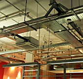 Open plan office lighting and air conditioning vents